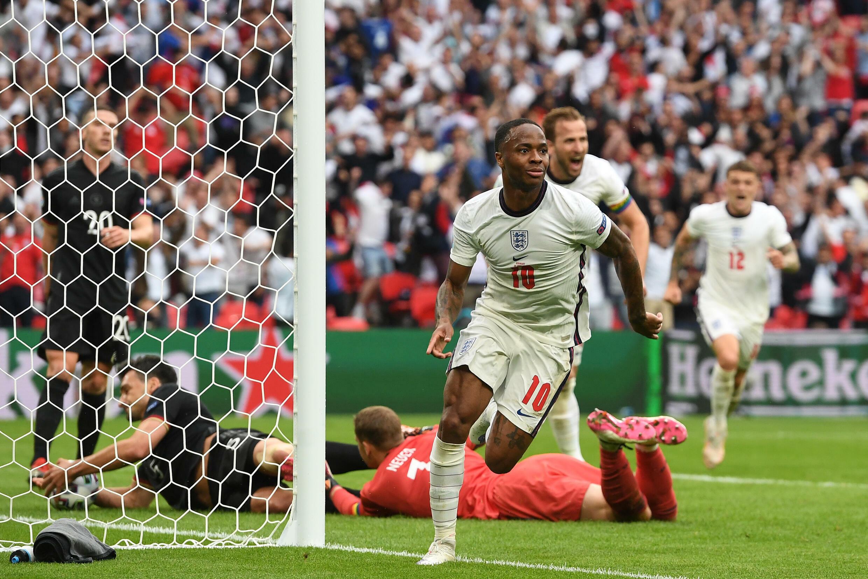 England forward Raheem Sterling celebrates after scoring against Germany