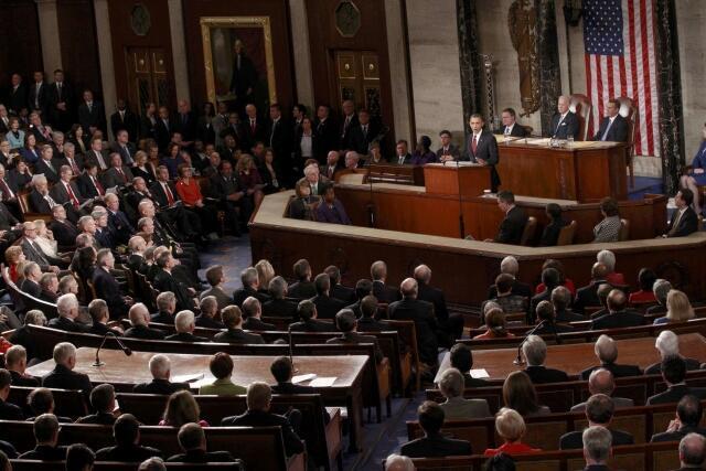 Le président américain Barack Obama au Congrès à Washington, en janvier 2012.