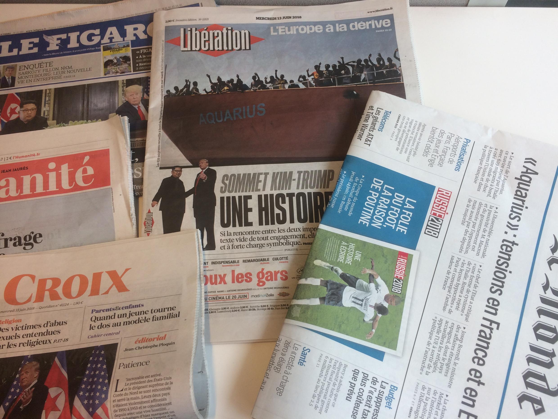 Primeiras páginas dos jornais franceses de 13 de junho de 2018