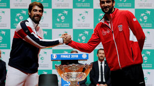 Jeremy Chardy (left) will open France's defence of the Davis Cup. Marin Cilic (right) will play the second match of the opening day against Jo-Wilfried Tsonga.