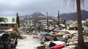 Orient Bay on the French Carribean island of Saint-Martin, after the passage of Hurricane Irma