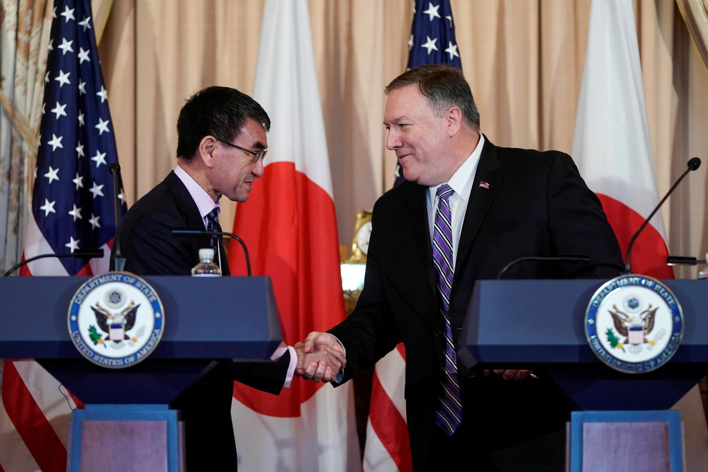 美國國務卿彭佩奧與日本外相河野太郎在華盛頓 2019年4月19日