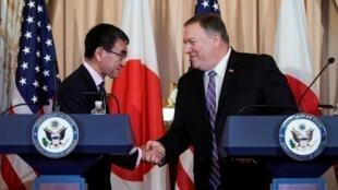 美国国务卿彭佩奥与日本外相河野太郎在华盛顿 2019年4月19日