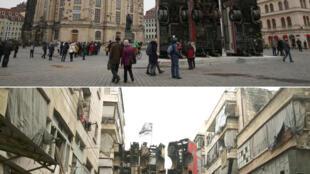 Instalação do artista sírio-alemão Manaf Halbouni em Dresden