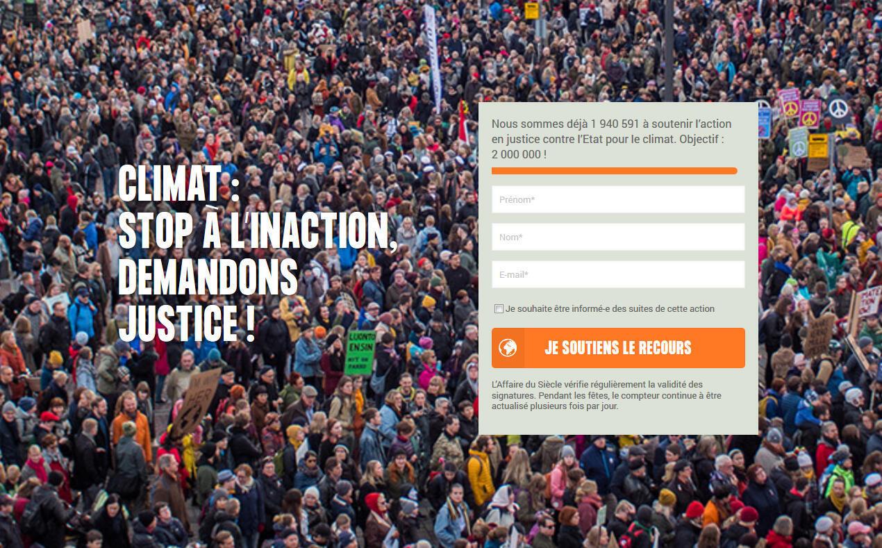 """Captura de pantalla de la portada del """"caso del siglo"""", el nombre que ONGs dieron a su proyecto de demandar al Estado por """"inacción climáatica"""""""
