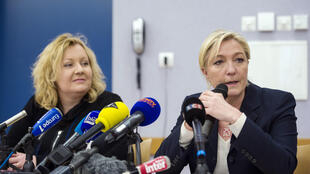 FN candidate Sophie Montel (L) with FN leader Marine Le Pen