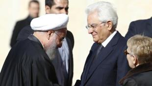 Iran's President Hassan Rouhani meets Italian President Sergio Mattarella in Rome, 25 January 2016.