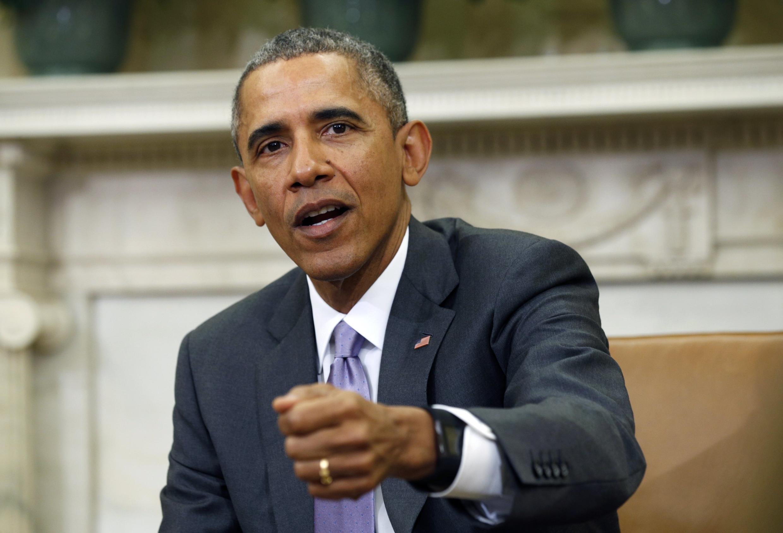 Ảnh Tổng thống Mỹ  Barack Obama lúc nêu vấn đề Iran với bộ trưởng Quốc phòng  Ash Carter tại Nhà Trắng, ngày  3/03/ 2015.