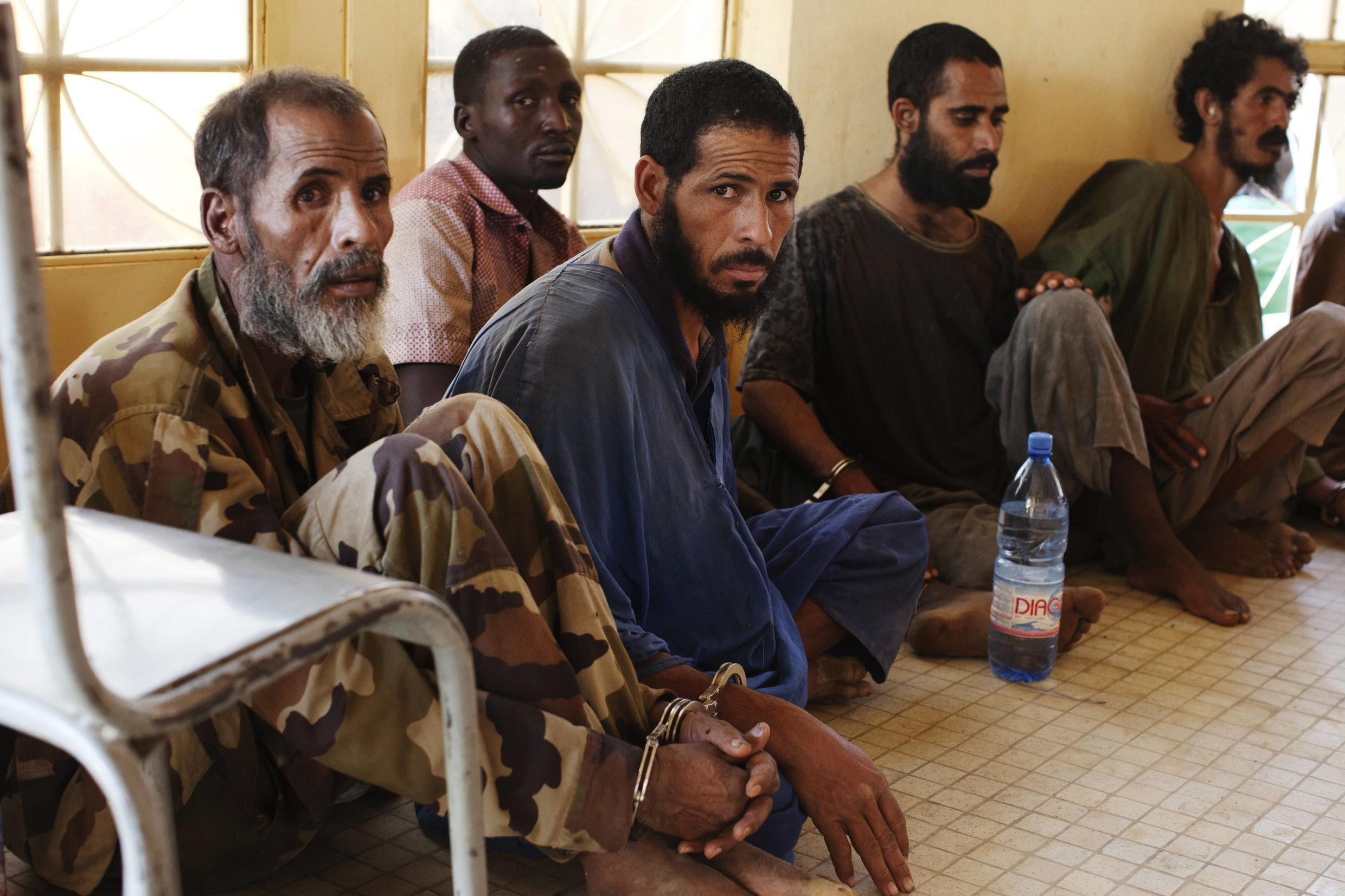 Captured Islamist fighters in Gao