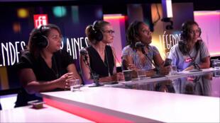 """De g. à d. : Pauline Duarte, Daphné, Elga Gnaly, et Amel Bent dans l'émission """"Légendes urbaines""""."""
