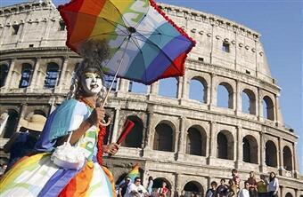 Parada do Orgulho Gay em Roma.