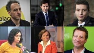 Les 6 têtes de liste françaises débattent pour RFI et France 24 : Raphaël Glucksmann, François-Xavier Bellamy, Jordan Bardella (absent du débat), Manon Aubry, Nathalie Loiseau et Yannick Jadot (de gauche à droite, de haut en bas).