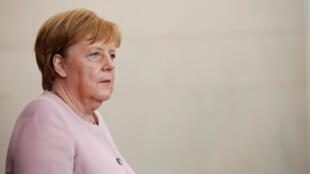 La chancelière allemande Angela Merkel lors d'une conférence de presse à Berlin, le 18 juin 2019.