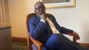 Umaro Sissoco Embaló, candidat déclaré vainqueur par le CNE des élections présidentielles bissau-guinéennes, à Addis-Abeba le 10 février 2020.