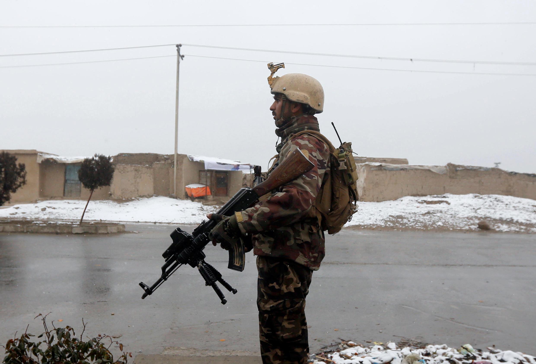 Một thành viên lực lượng an ninh Afghanistan tại Học viện quân sự Marshal Fahim, Kabul, ngày 29/01/2018.
