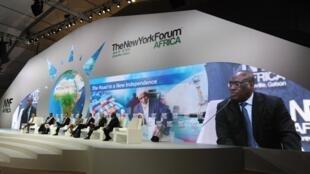 Le président gabonais Ali Bongo a annoncé la création d'un fonds de 150 millions d'euros destiné à la création d'emplois pour la jeunesse, lors du 2e New York Forum Afrika à Libreville, le 16 juin 2013.
