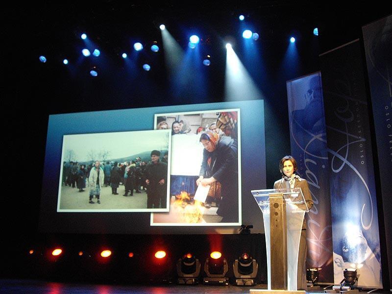 Выступление Л.Юсуповой на получении премии Норвежского фонда борьбы за права человека.