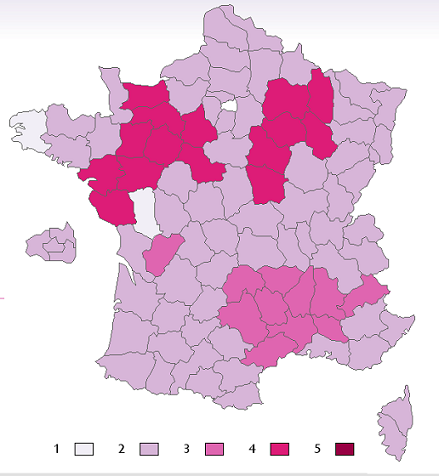 Bản đồ Pháp số nụ hôn má từ 1 đến 5 tương ứng với mầu sắc.