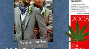 O Libération estampa em sua manchete uma das uniões gays que foram celebradas na França nas últimas semanas.