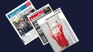 Capa dos jornais franceses La Croix, Aujourd'hui en France e Le Monde desta quinta-feira, 28