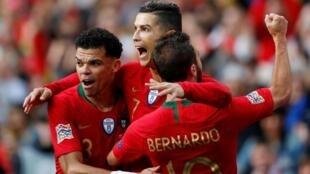 Les Portugais Pepe, Bernardo Silva, Cristiano Ronaldo.