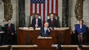 Benyamin Netanyahu devant le Congrès américain, mardi 3 mars 2015.