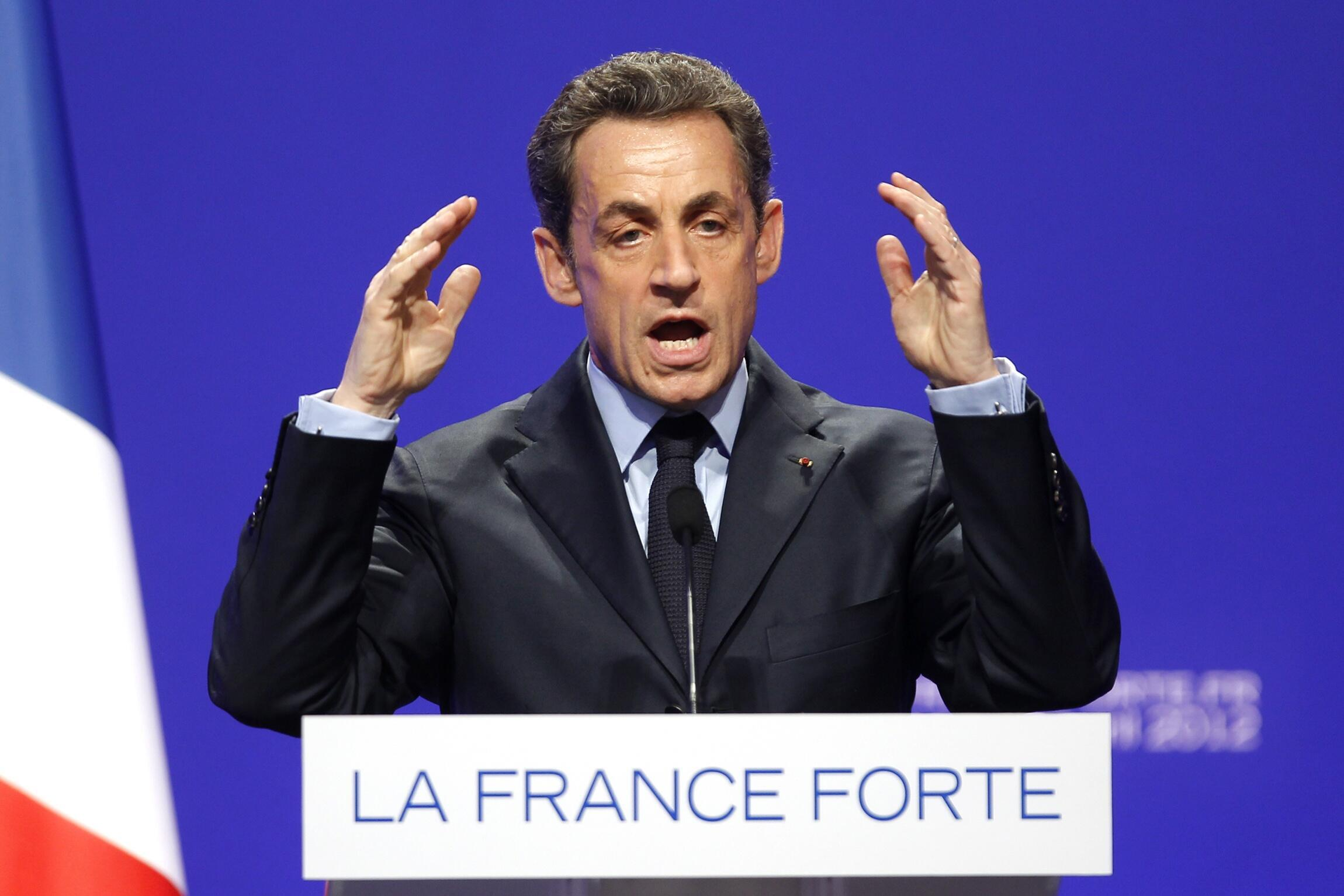 Tổng thống mãn nhiệm Pháp - ứng viên đảng UMP Nicolas Sarkozy vận động tranh cử tại Nancy, 02/04/2012