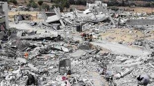 加沙中部被以色列轟炸後的廢墟2014年8月17日