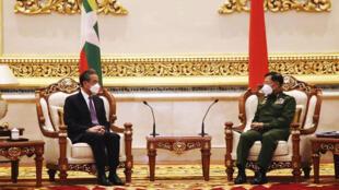 chine - birmanie - wang yi - Min Aung Hlaing  AP21012375269484