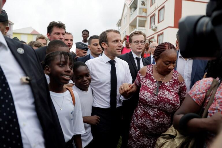 French President Emmanuel Macron in Quartier-d'Orléans in Saint-Martin, 29 September 2018, a year after it was devastated by Hurricane Irma.