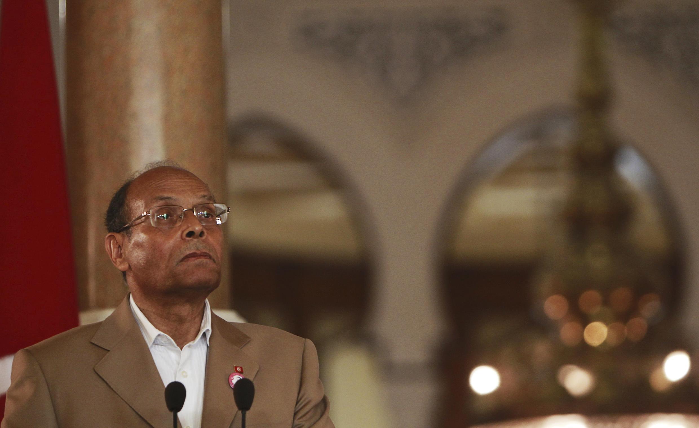 Moncef Marzouki photographié lors d'une visite en Egypte, au palais présidentiel du Caire, le 13 juillet 2012.