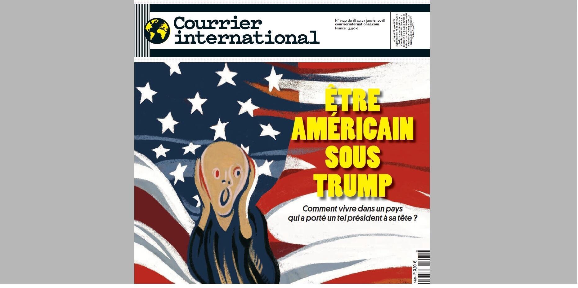 Ảnh chụp màn hình trang bìa Courrier International (18-24/01/2018), thể hiện tác phẩm hội họa Tiếng Hét (Le Cri) của danh họa Na Uy Edvard Munch.