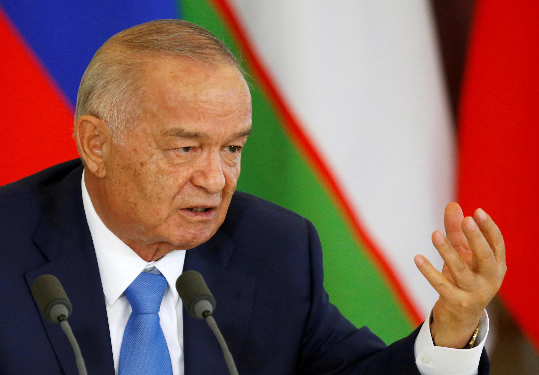 Tổng thống Islam Karimov trong một cuộc họp báo tại Matxcơva, ngày 26/04/2016.