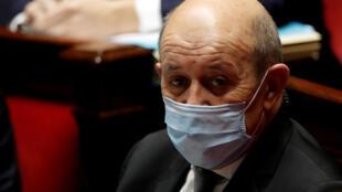 Ngoại trưởng Pháp Jean-Yves Le Drian trong phiên chất vấn chính phủ tại Hạ Viện, Paris, ngày 26/01/2021.