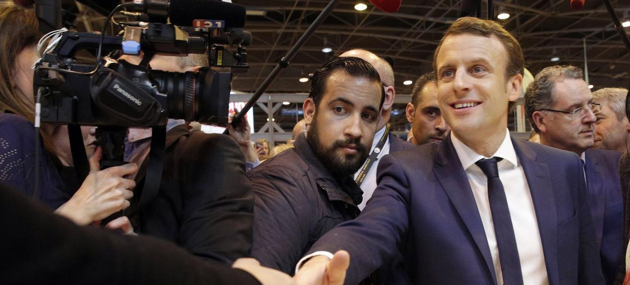 Alexandre Benalla at Emmanuel Macron's side at the Agriculture Fair in Paris, March 2018