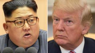 Rais wa Marekani Donald Trump (Kulia)  na kiongozi wa Korea Kaskazini Kim Jong Un (Kushoto)