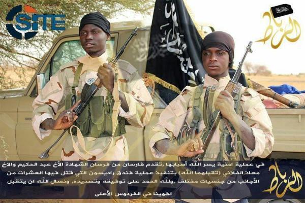 Des combattants de l'organisation jihadiste al-Mourabitoune.