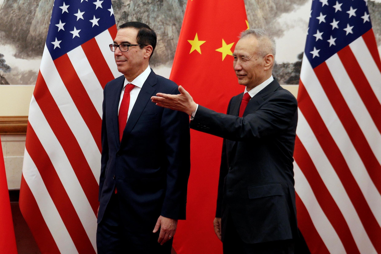 中國副總理劉鶴與美國財長姆努欽在北京釣魚台 2019年5月1日