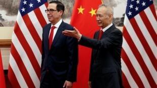 中国副总理刘鹤与美国财长姆努钦在北京钓鱼台 2019年5月1日