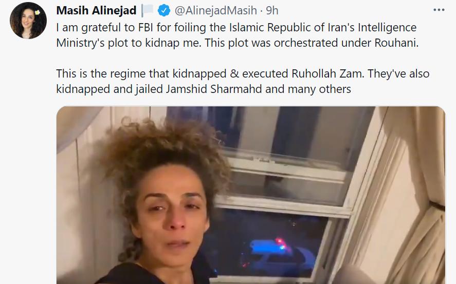 旅居美國的伊朗女記者阿琳娜嘉德(Masih Alinejad)資料圖片