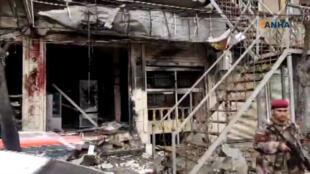 Một góc cảnh vụ khủng bố tấn công ở Manbij, Syria, ngày 16/01/2019