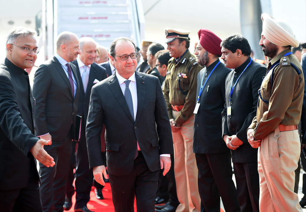 Presidente francês François Hollande, em Chandigarh na  Índia, este domingo, 24 de janeiro de 2016.