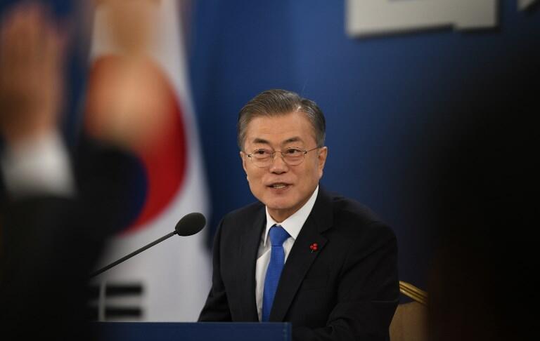 Conférence de presse du président coréen Moon Jae-in, le 10 janvier 2019. (Image d'illustration)