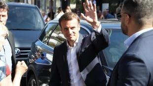 Emmanuel Macron a voté au Touquet pour le second tour des élections municipales, le 28 juin 2020.
