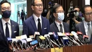 四名因人大决定而被取消议员资格的民主派议员,左起:杨岳桥、郭荣铿、郭家麒及梁继昌。