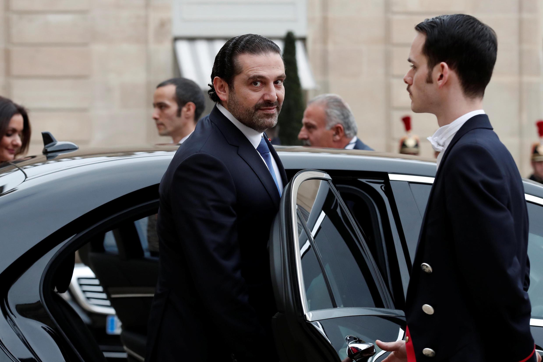 سعد حریری، نخست وزیر مستعفی لبنان در حال خروج از کاخ الیزه