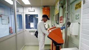 Technician at La Hague nuclear site, western France, April 2015