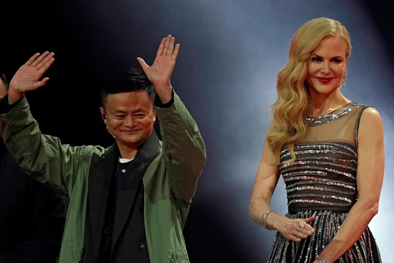 L'artiste américaine Nicole Kidman en compagnie de l'entrepreneur chinois Jack Ma, lors du lancement de la journée des célibataires 2017 à Shanghai.