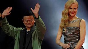 Nữ tài tử Mỹ Nicole Kidman cùng Jack Ma, chủ tịch Alibaba, trong show mở màn 'Ngày Người Độc Thân 11/11/2017.