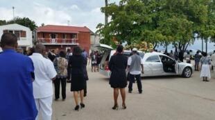 Funérailles de Henri Corenthin, à Port-Louis en Guadeloupe, le 21 avril 2016.